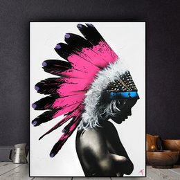$enCountryForm.capitalKeyWord Australia - Watercolor Abstract Feather Girl Oil Painting on Canvas Posters and Prints Cuadros Wall Art Picture No Framed