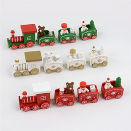 Discount mini toy train sets - Merry Christmas Mini Train toy Xmas Kids gifts Wooden Little Trains Set table decorative room Party Ornaments Decoration
