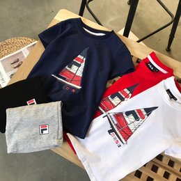 Sail Clothes Australia - Kids Designer T Shirts 2019 New Arrival Children Sailing Print Letters Two Pieces Tshirts + Shorts Boy Girl Unisex Fashion Clothes Sets