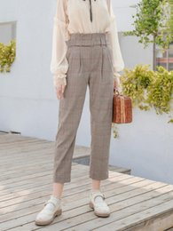 thin elastic belts 2019 - Mg Small As High Waist Leisure Time Pants Woman Autumn Lattice Suit Waist Belt Easy Thin Directly Cuffless Trousers Tide