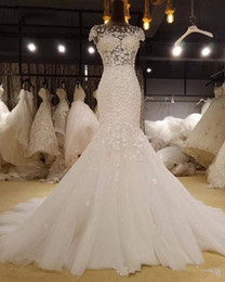 $enCountryForm.capitalKeyWord Australia - Glamorous Appliques Cap Sleeve Mermaid Wedding Dress 2019 Vintage Scoop Neck Trumpet Bride Gown Robe De Mariage Plus Size