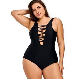 b5e8c170aad1a 2018 Plus Size One Piece Swimsuit Women Lace Up Backless Swimwear Large  Sizes Bathing Suit Beachwear Black Swimsuit