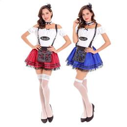Wholesale sexy beer uniforms for sale - Group buy Adult Women German Bavarian Oktoberfest Costume Sexy Suspenders Red Blue Beer Girl Maid Uniforms