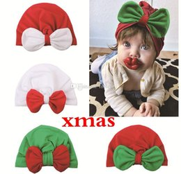 $enCountryForm.capitalKeyWord Australia - XMAS Christmas Ins NEWBORN Baby Kids Cotton Bow hats caps Red White Green Beanie Indian Solid hats Winter ears protection hats 4colors