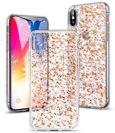 $enCountryForm.capitalKeyWord Australia - For iPhone X Bling Clear Case with 3D Gold Sparkle Glitter on Hard PC Back Soft TPU Cases with Shining Design for Girls Women Apple iPhone 8