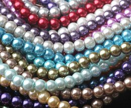 14mm loose pearls Canada - Wholesale Various Colors 14MM Loose Glass Pearl Beads DIY 20PCS Bag Round Glass Imitation Pearl Beads for Jewelry Making
