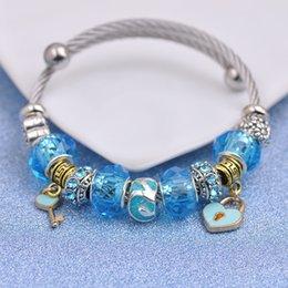 Key Bead Bracelet Australia - Stainless Steel Wire Bracelets Fit Pandora Women Faceted Murano Glass Beads Silver Heart Love Stamped Bangle Key Pendant Jewelry Blue P149