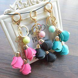 $enCountryForm.capitalKeyWord Australia - Hot sale Fashion Creative PU Leather Rose Keychain Trendy Phone Bag Key Ring Excellent Accessory Gift Keyfob 10 Styles Free DHL B786Q A