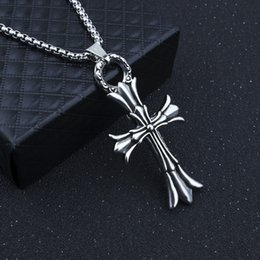 wholesale chain crosses NZ - S1394 Hot Fashion Jewelry Vintage Personality PUNK Cross Necklace Chain Cross Pendant Necklace