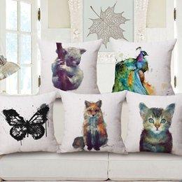 $enCountryForm.capitalKeyWord Australia - European Originality Pillow Animal Painting In Water Colours Back Cushion Literature Cotton Cushion Set Pillow Come Picture Customized