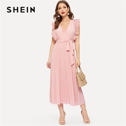 2850e1edc9b1 SHEIN Pink Retro Pleated Panel Ruffle Armhole Wrap Belted Sleeveless Dress  Women Summer Fit and Flare Solid Maxi Party Dresses