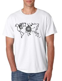 cotton world map Australia - Men's T Shirt World Map Compass Cool Graphic Tee