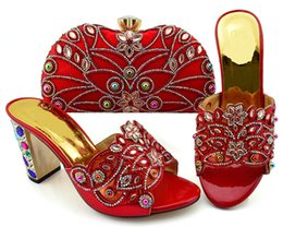 Wedges For Red Wedding Dress Australia - Wonderful red women high heel shoes with big crystal and beads for dress african pumps match handbag set GFN1902,heel 9CM
