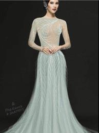 Zuhair Murad Prom Dresses Line Train Australia - Evening dress Yousef aljasmi Labourjoisie Zuhair murad A-Line Jewel Long Sleeve Light Green Tulle Sequins Long Dress