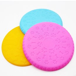 silicone disk 2019 - Pet dog anti-biting disk Frisbee soft silicone Frisbee pet toy training silicone UFO training dog toy color random hair