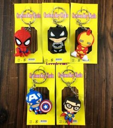 Rubber Figures Australia - New 100 pcs Avengers Superhero 3D Rubber Cell Phone Keychain Pendant Figure Model Key Chain For Best Gift