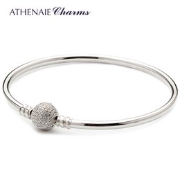 Pave Clasps Australia - ATHENAIE 925 Sterling Silver Basic Charms Bracelet & Bangle Pave Clear CZ Snap Clasp Fit All European Beads