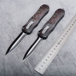 Knife box wood online shopping - Red Microtech Double Action Auto Camping Hunting Knife Double Serrated Blade With Nylon Sheath Wood Box Best Gift Collection Knives P706M F
