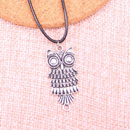 $enCountryForm.capitalKeyWord Australia - New Durable Black Faux Leather Antique Silver 17*13mm owl connector Pendant Leather Chain Necklace Vintage Jewelry Dropshipping