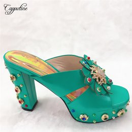 $enCountryForm.capitalKeyWord Australia - Fashionable in teal wedding party pumps latest high heel shoes with nice decoration CFS13, size 38-42