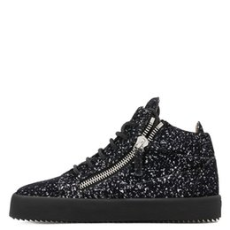 Black Sequins Shoes Australia - Bling Sequins Men Casual Shoes Black Lace Up Sneaker Top Zipper Glitters Flat Thick Bottom Creepers Zapatillas Hombre Shoes
