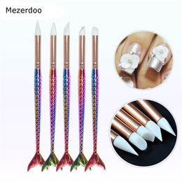 Wholesale Silicone Nail Tool Brush Dotting Sculpture Painting Moulding Pen Carving Craft Mermaid Nails Brushes Nail Art Decoration pc