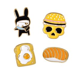 $enCountryForm.capitalKeyWord Australia - Decorations Toast Omelette Rabbit in Black Skull Bread Combination Personality Special Creative Creative Brooch Jewelry Gift for Girls Kids