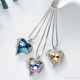 SwarovSki cryStal Snake necklace online shopping - Xidaier s European and American Ocean New Necklace female heart of the sea necklace Swarovski elements heart shaped crystal sweater cha