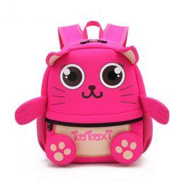$enCountryForm.capitalKeyWord Australia - Children School Backpack Cartoon Animal Cat Design Waterproof Neoprene Fabric For Toddler Girls Kindergarten Kids School Bag