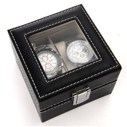 gift professional 2019 - 2 Slots Professional Gift Faux Leather Rings Organizer Protective Jewelry Dispay Holder Watch Box Bracelet Lock Closure