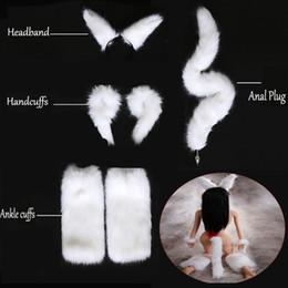 Branco Sexy Faux Fox Rabo Butt Silicone / Metal Butt Plug + Pulso Mão Cuffs + Perna Tornozelo Algemas + Headband Sex Toys Jogos para adultos venda por atacado