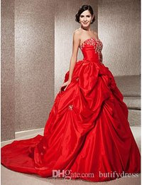 $enCountryForm.capitalKeyWord Australia - 2019 New Design Wedding Dresses Strapless Sexy Red Brides Dresses Beautiful Wedding Gowns Chinese Factory High Quality Man Made