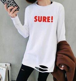 Ingrosso manica lunga 2019 autunno nuovi orli larghi nel mezzo camicia a maniche lunghe centrale T-shirt bianca abbigliamento femminile