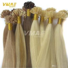 Venta al por mayor de 100g Extensiones de cabello Extensiones de cabello de fusión Keratina Uñas Recta Virginal Recta Corta de cabello U punta de uña Extensiones de peluquería brasileña