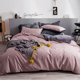 King duvet cover sets grey online shopping - 2018 Pink Plaids Grey Bedlinens Side Cotton Side Coral Fleece Bedding Set Twin Queen King Duvet Cover Set Pillowcases