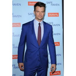 royal blue silver grey for wedding NZ - New wedding suits for men royal Blue Celebrity Mens Tuxedos Notched Lapel Suits Two Piece Suit Slim Fit terno masculino