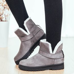 $enCountryForm.capitalKeyWord Australia - Women Boots Hot Plush Snow Boots Women Ankle Winter Female Flats Shoes Solid Booties Woman Winter Boots Plus Size 44