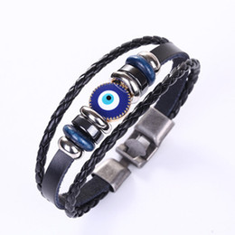 man evil eye bracelet Australia - Blue Evil Eye Bracelets Braided Beads Bracelet Women Genuine Leather Bracelets for Men Multilayer Wrap Bangle Women Fashion Vintage Jewelry