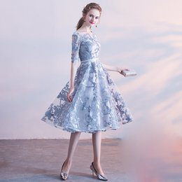 traditional chinese dresses evening Australia - Blue Gray Oriental Style Banquet Dresses Chinese Vintage Traditional Wedding Cheongsam Elegant Evening Party Gowns Size XS-XXL