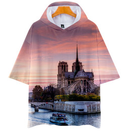 Wholesale short sleeve hoodie for sale – custom Notre Dame DE Paris Mens Short Sleeve Hoodies Women D Printed Tops O Neck Fashion Tshirt Male Causal Clothes