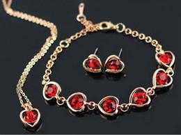 $enCountryForm.capitalKeyWord NZ - 50 sets lot,Use brand elements Heart-shaped Necklace Pendant Bracelet Earring 4 pcs sets Inlaid Austria Crystal Glittering lover jewelry