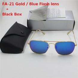 $enCountryForm.capitalKeyWord Australia - YXVAXL 1pcs new high quality fashion designer brand eye protection sunglasses gold frame blue flash glass lens UV400 protective black box