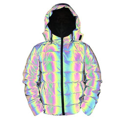Wholesale colorful zipper jacket resale online – Mens Parka Reflective Winter Thick Cotton Coat Men Reflective Colorful Light Waterproof Windproof Thicken Keep Warm Overcoat Hooded Jacket