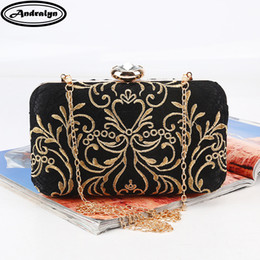 Ladies Evening Handbags Australia - Andralyn New Printed Gold Embroidery Evening Bag Vintage Chain Shoulder Messenger Bag Clutch Lady Party Dinner Wedding Handbags Y19062003