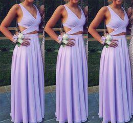 Navy boho bridesmaid dress online shopping - 2019 Sexy Bridesmaid Dresses Lavender Lilac A Line V Neck Cutaway Sides Simple Wedding Guest Dress Beach Boho Style Cheap