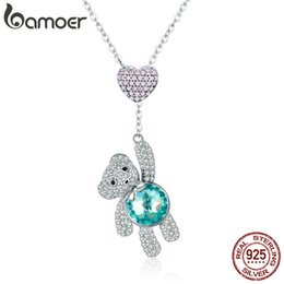 $enCountryForm.capitalKeyWord Australia - Bamoer 100% 925 Sterling Silver Pink Cz Heart And Cute Bear Animal Pendant Necklaces For Women Silver Jewelry Gift Scn271 J190531