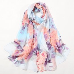 Chinese Floral Paintings Australia - 160*50 cm High Quality Chinese Painting Style Blossom Flower Pattern Chiffon Ladies Women Long Scarf Sunscreen Beach Shawl