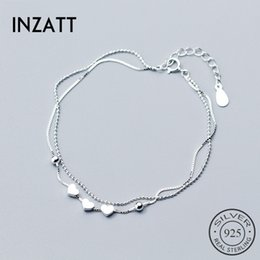wood fish hook Canada - INZATT Real 925 Sterling Silver Beads chain Box Bracelet Heart Fine Jewelry For Women Engagement Party Accessories Gift