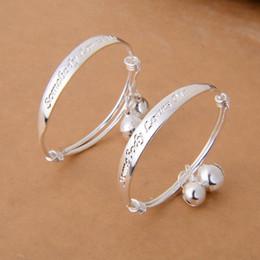 $enCountryForm.capitalKeyWord Australia - Hot New Gift 2pcs Lot Baby Kid Bell Bangle Bracelet English Letter