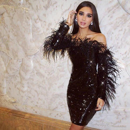 short long sleeve feather cocktail dress UK - sparkling Black sequin Short cocktail Party Dresses With Long Sleeves Elegant Off shoulder Feather sexy Little black Dress